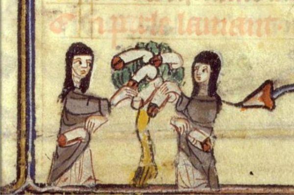 Le monache presso l'albero dei falli - Miniatura dal Roman de la Rose, Jean de Meung