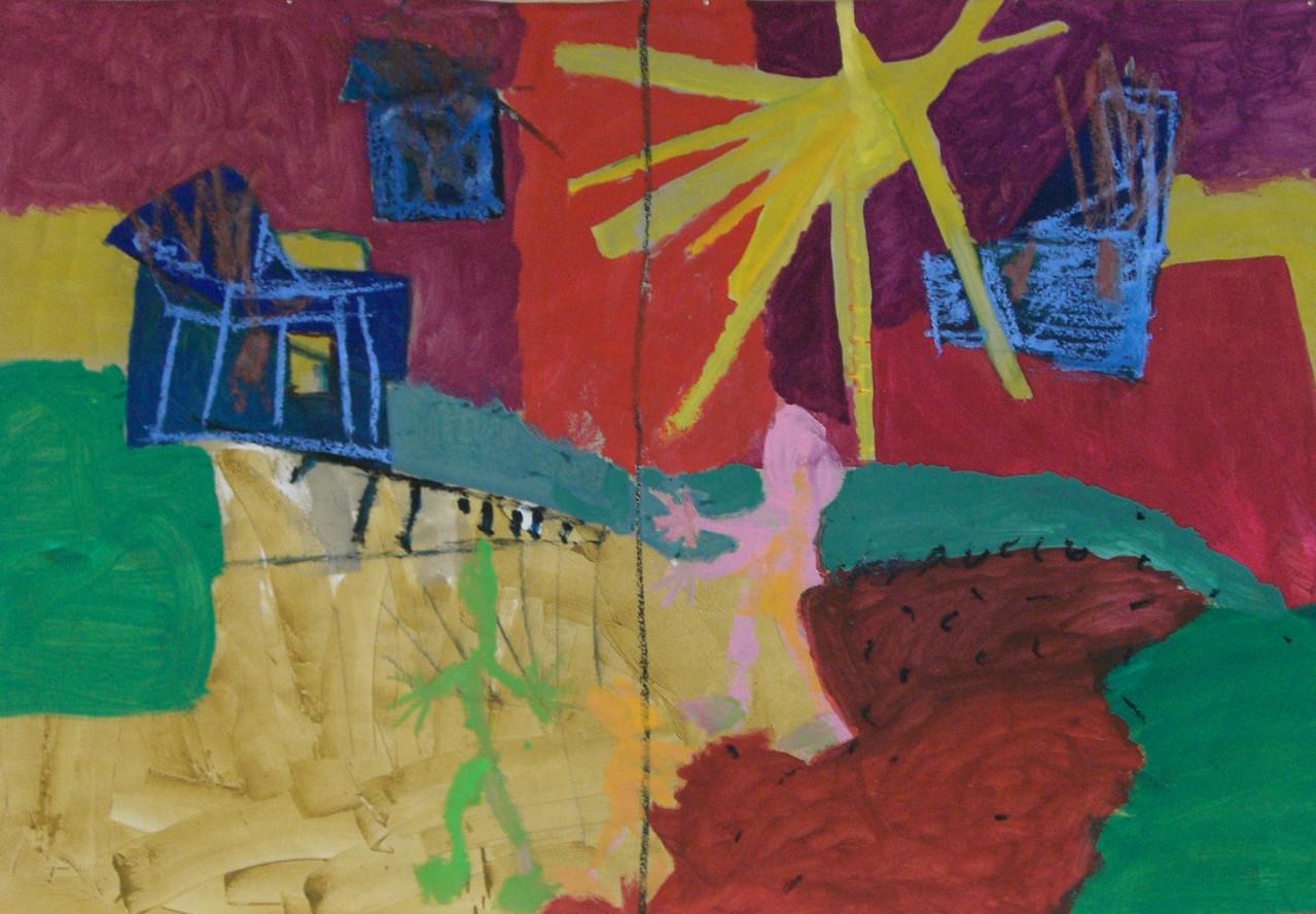 Hier und Niergens 2004 Öl-Kreide, Gouache auf Papier 157 x 240 cm
