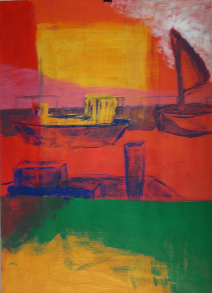 Die Mutter und der Hafen 2006 Gouache auf Papier 70 x 100 cm