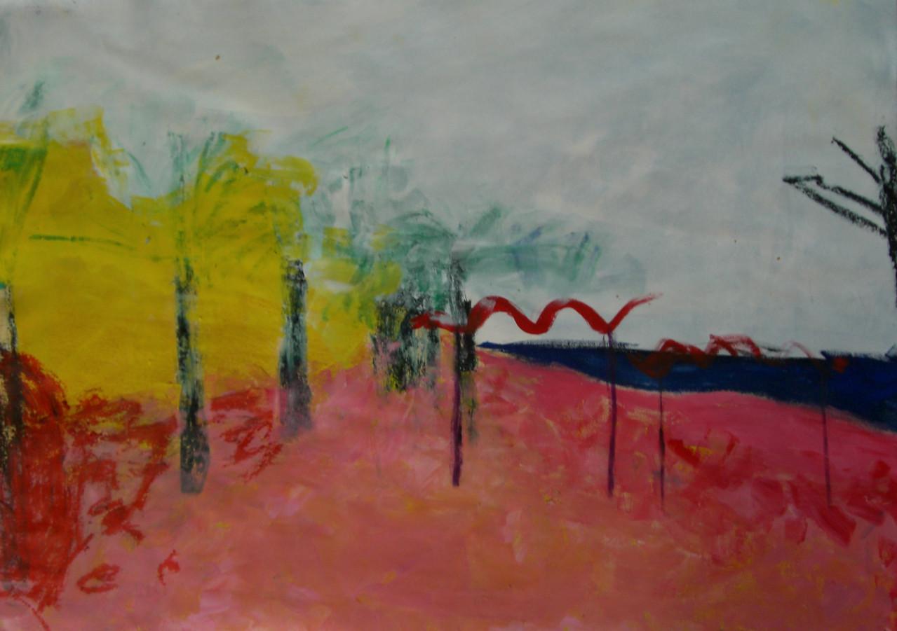 Besuch 2006 Gouache und Ölkreide auf Papier 100 x 70 cm