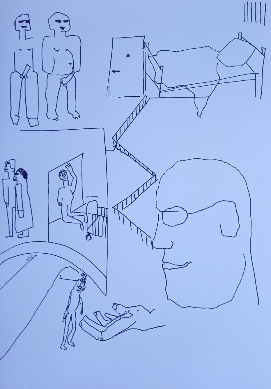 Der Junge, das Amt und Helmut Kentler 2020 Marker auf Papier 42 cm x 59,4