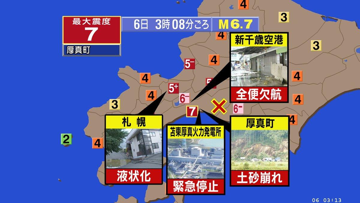 地震発生の北海道の震度分布