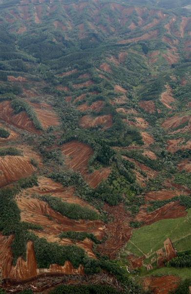地域の多くの山で地滑りのような崩落発生