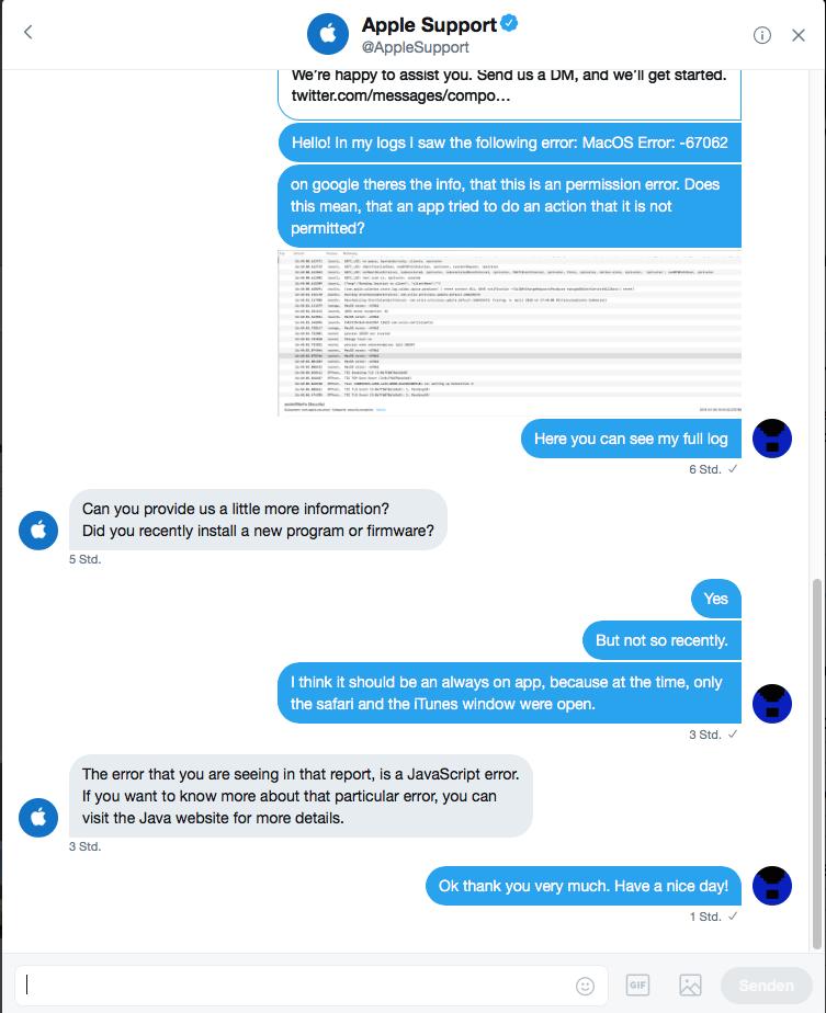 Apple Support über Twitter DM, bezüglich eines Fehlers
