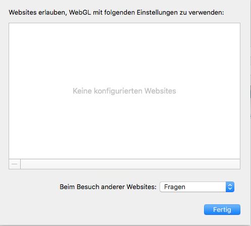 SAFARI WEBGL EINSTELLUNGEN (OSX)