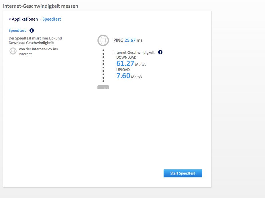 Internet Geschwindigkeit mit gleichem Paket, aber mit Booster | Uhrzeit: 21:38 |  Der Test wurde mit dem Swisscom Router Speed-Test durchgeführt