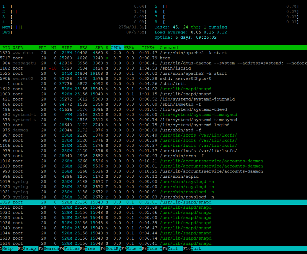 HTOP Linux Server Systemctl Loop low usage - 00:PUD15038|memcantgetreserved|use/bin/ryslog/locked