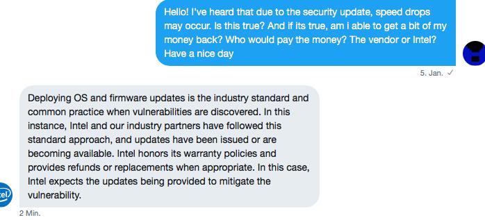Antwort auf meine Frage beim Intel-Support (Twitter Direct Message)