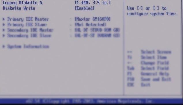 Systemzeit Einstellungen, Legacy Diskette A, Formatierungsauswahl der Zeit auf dem Ram.