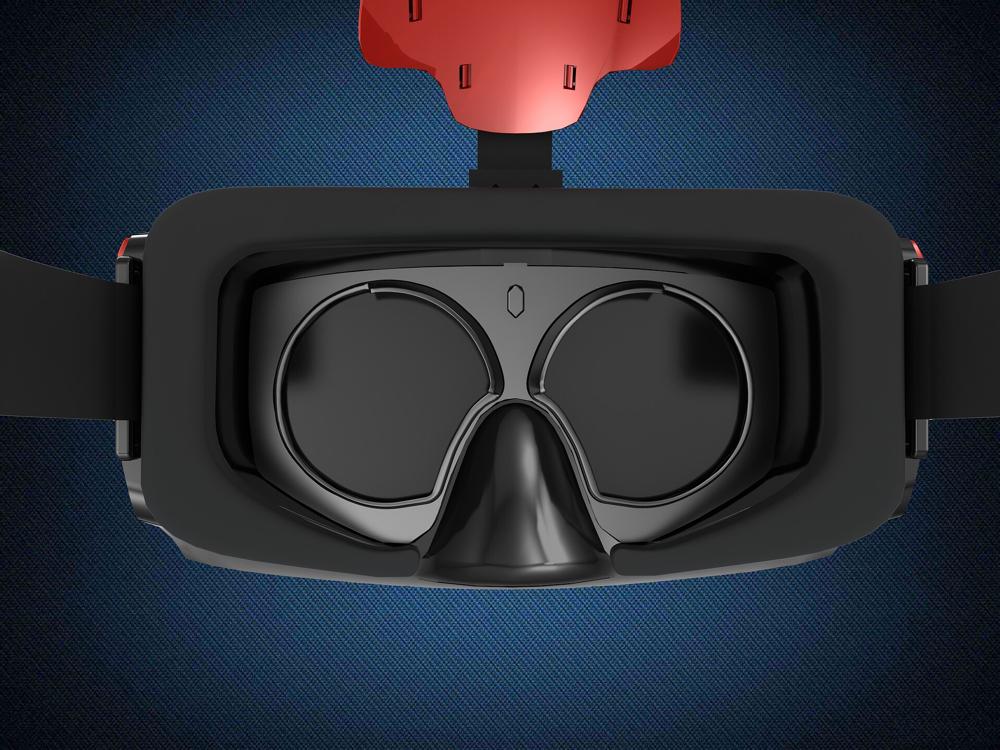Innenansicht einer VR Brille (nicht die von dem Experience) . Man kann sehr gut sehen, wie gut die Luft das Gerät abkühlt.