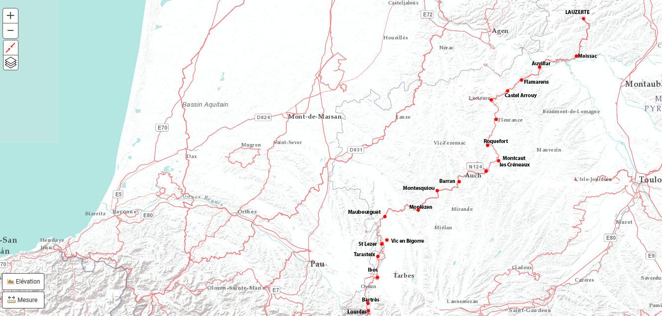 Les étapes de de Lauzerte à Lourdes