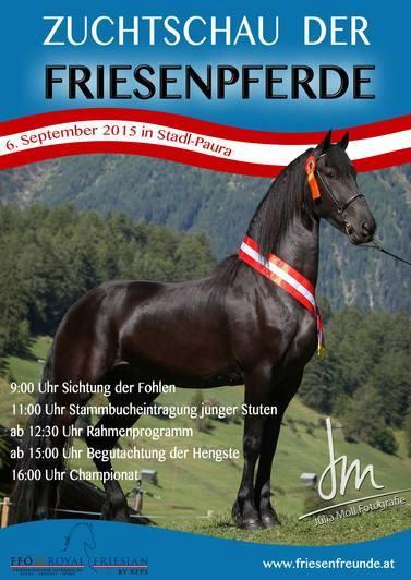 Plakat von Friesenzuchtschaut Stadl Paura 2015