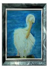 Pelikan in der Essener Gruga bei der Gefiederpflege
