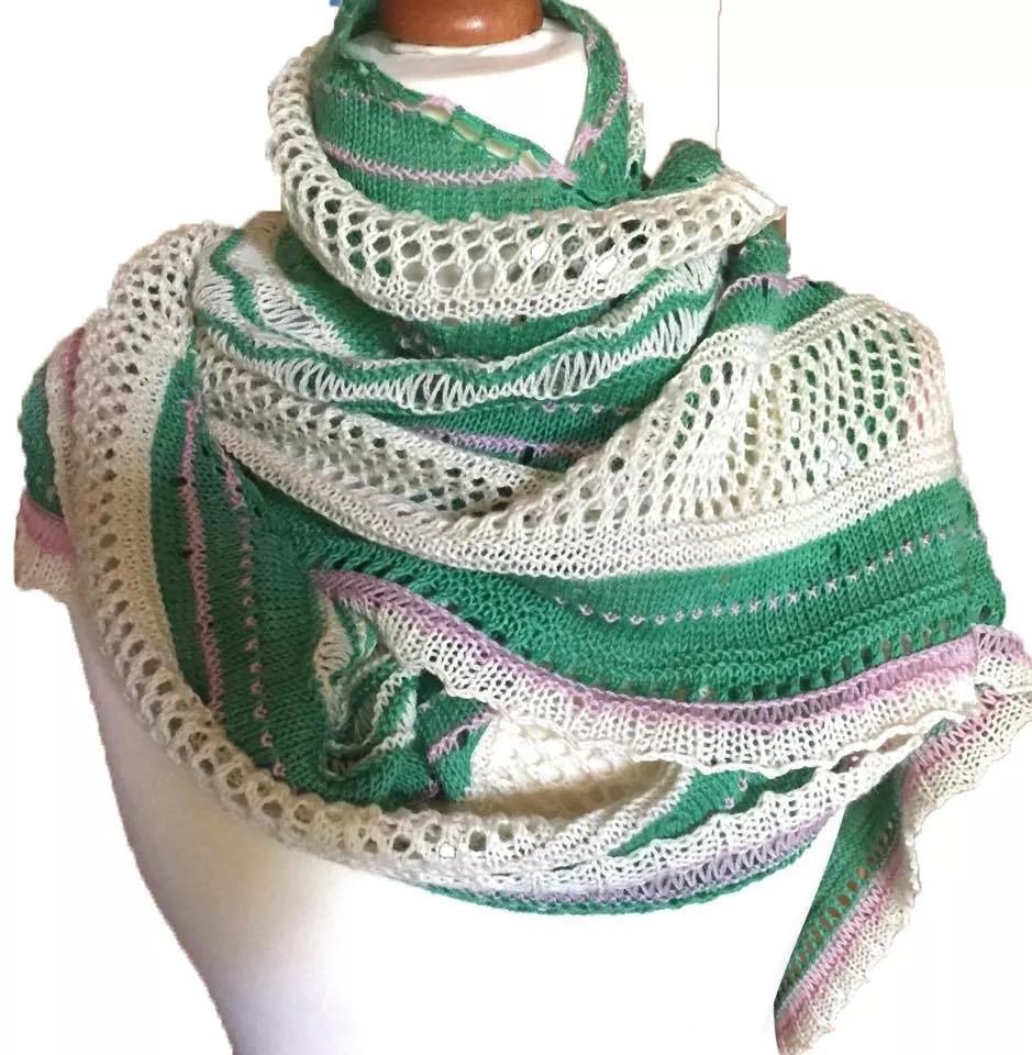 Misae-Tuch aus handgefärbter Merinowolle in smaragd-natur-rosé