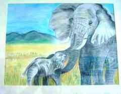 Elefantenmutter und Kind