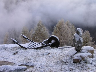 El primer nieve en el otoño