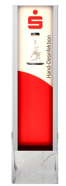 Desinfektionsspender Design +LED im Kundendesign (Beispiel)