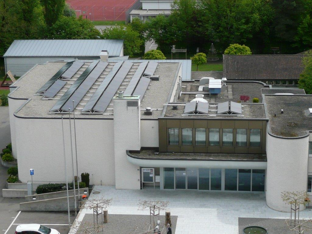 Blick vom Kirchturm auf die PV-Anlage