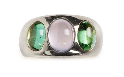 Turmalin grün/Mondstein grau  Sterling Silber                                                     € 559,00