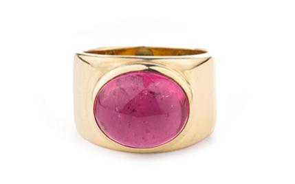 Turmalin, pink, Cab., 750 Gelbgold            P.a.A.