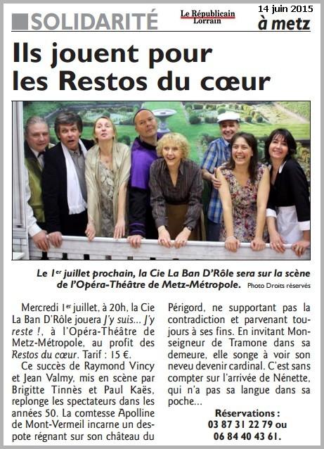 La compagnie LA BAN D'RÔLE joue à l'opéra-théâtre de Metz métropole le 1er juillet 2015