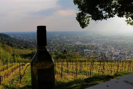 Weinflasche mit Blick auf Bensheim