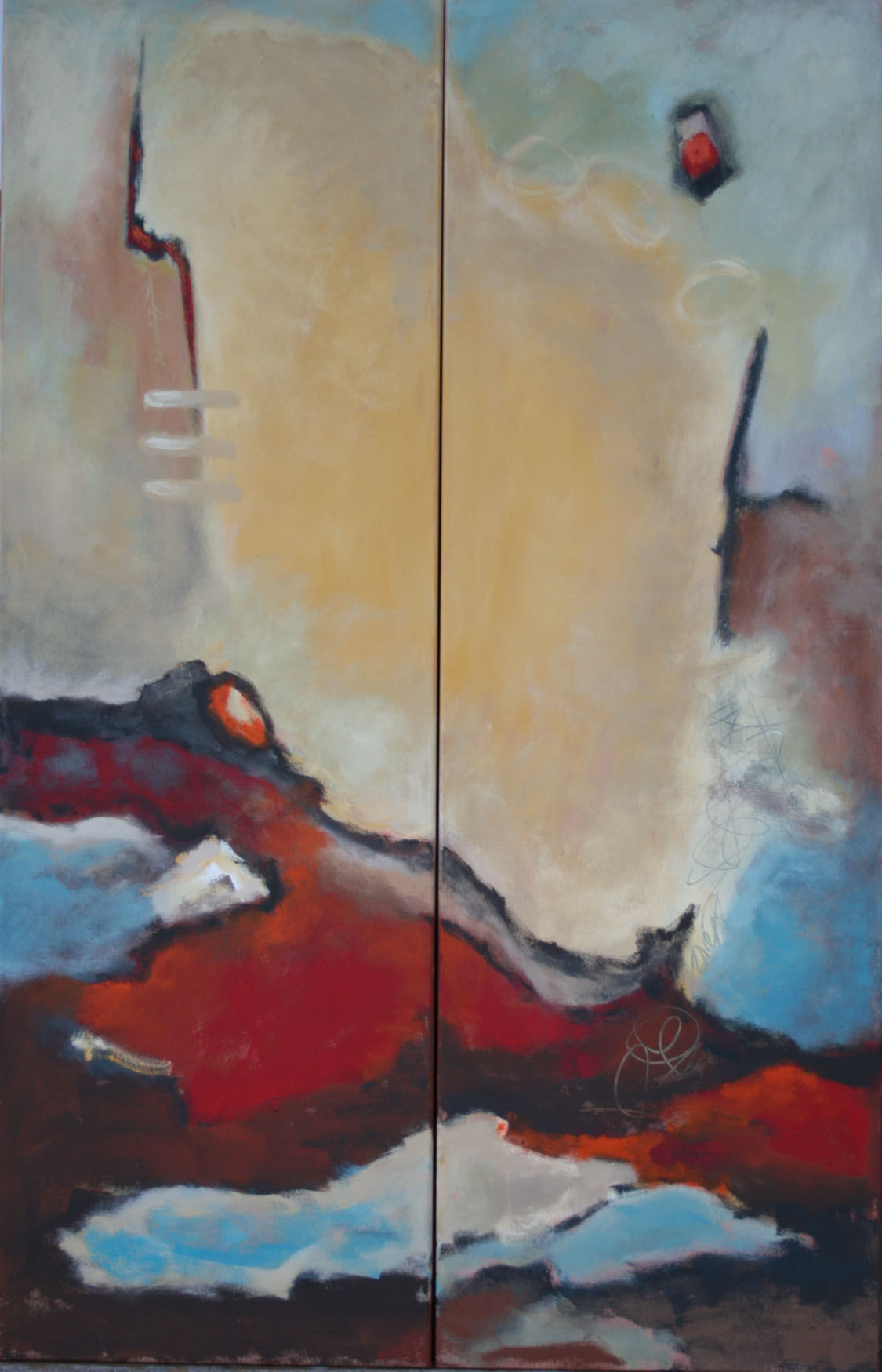 Aufwärts, Öl und Acryl auf Leinwand,  2-tlg,  je 140 x 45 cm