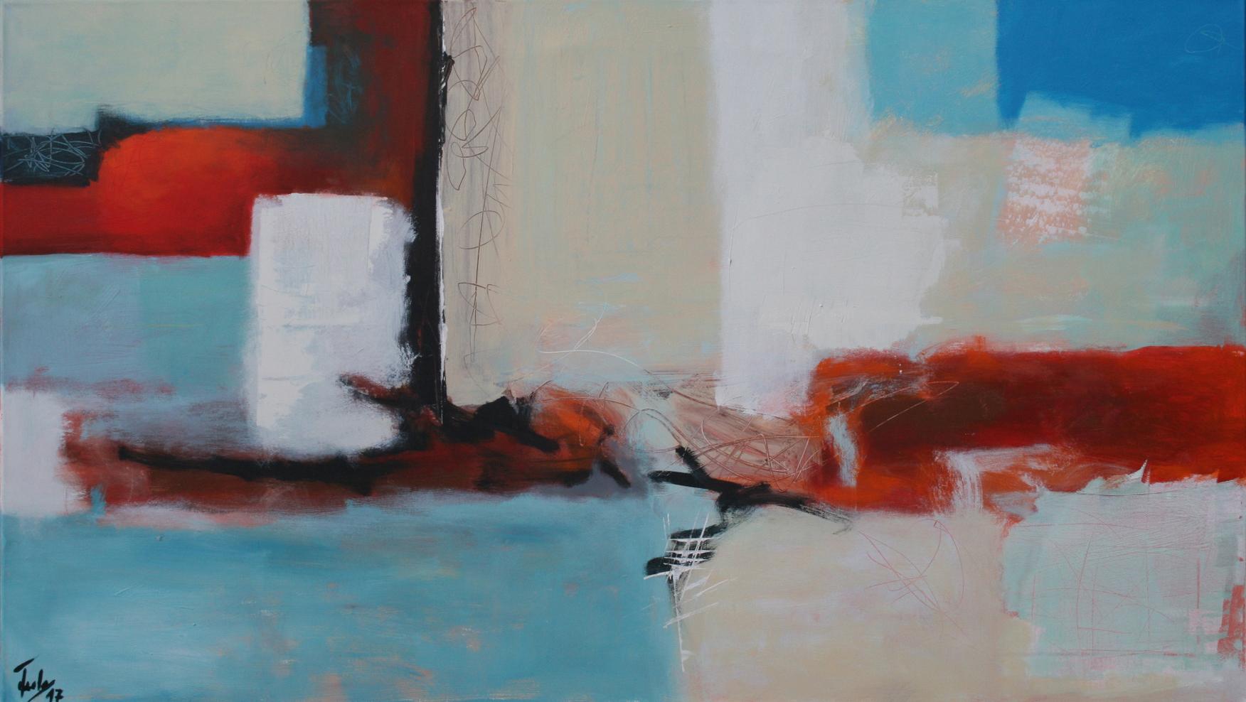 Ohne Titel , Öl und Acryl auf Leinwand, 80 x 140 cm