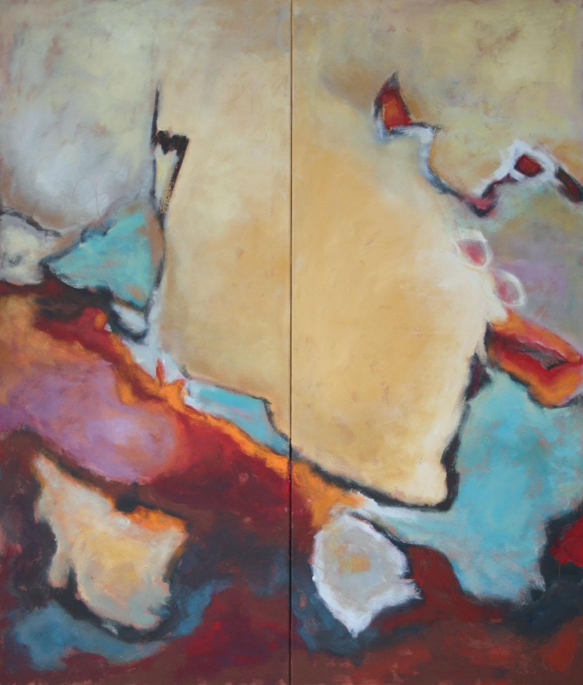 Bewegte Zeiten III+IV, Öl und Acryl auf Leinwand,  2-tlg,  je 140 x 60 cm