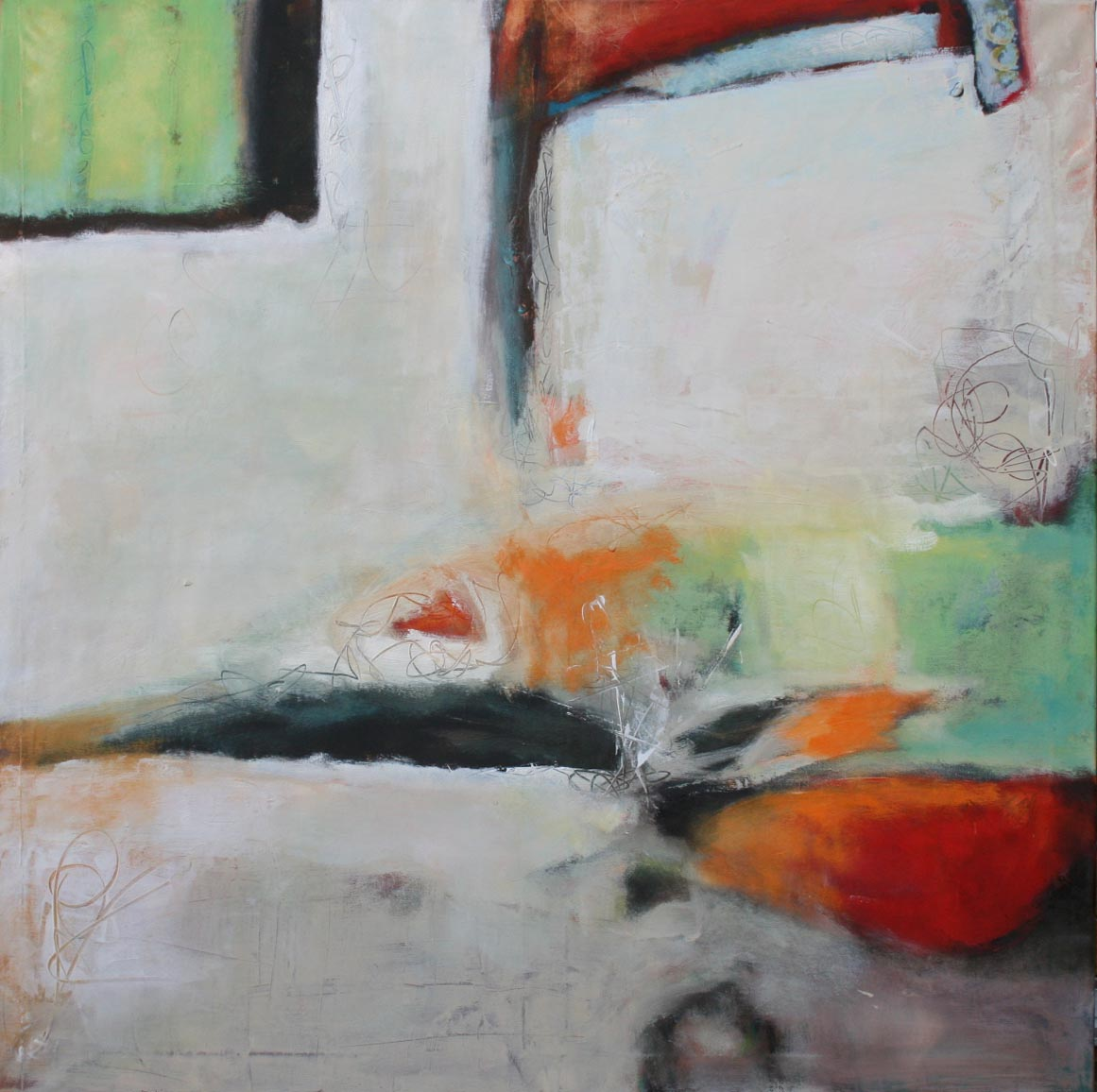 Ohne Titel 1703, Öl und Acryl auf Leinwand, 100 x 100 cm