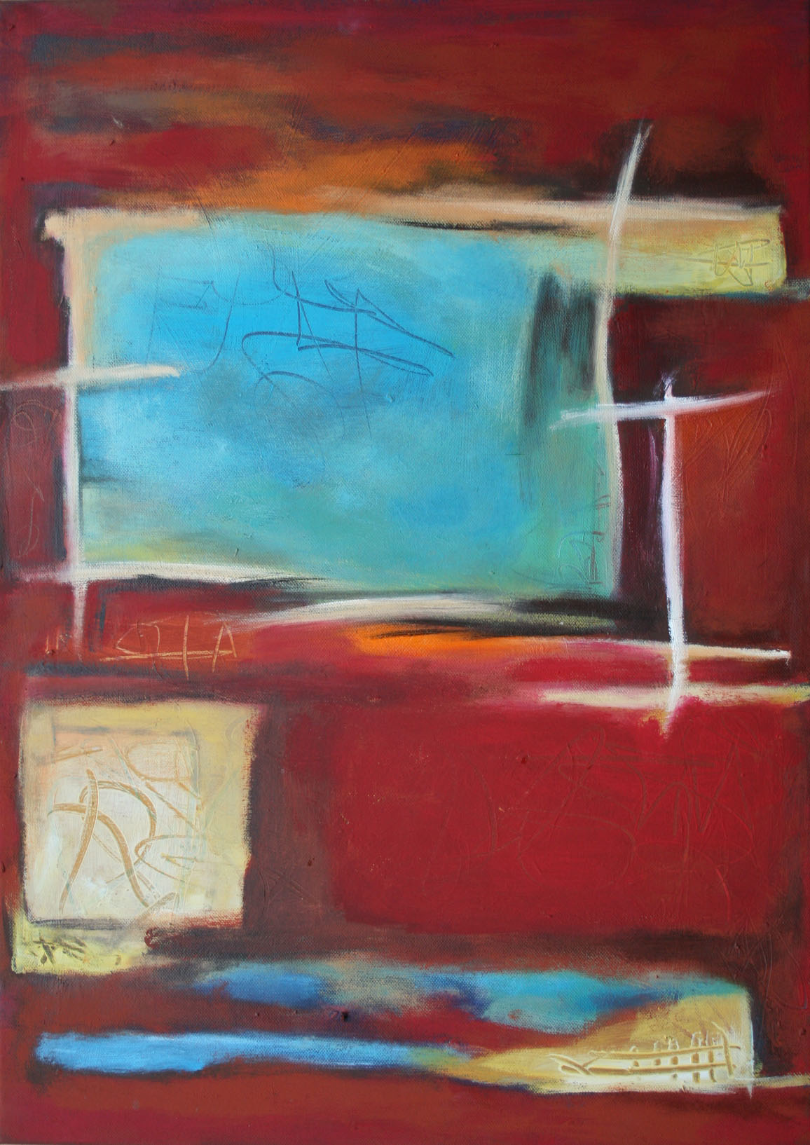Tief im Rot II,  Öl und Acryl auf Leinwand, 70 x 50 cm