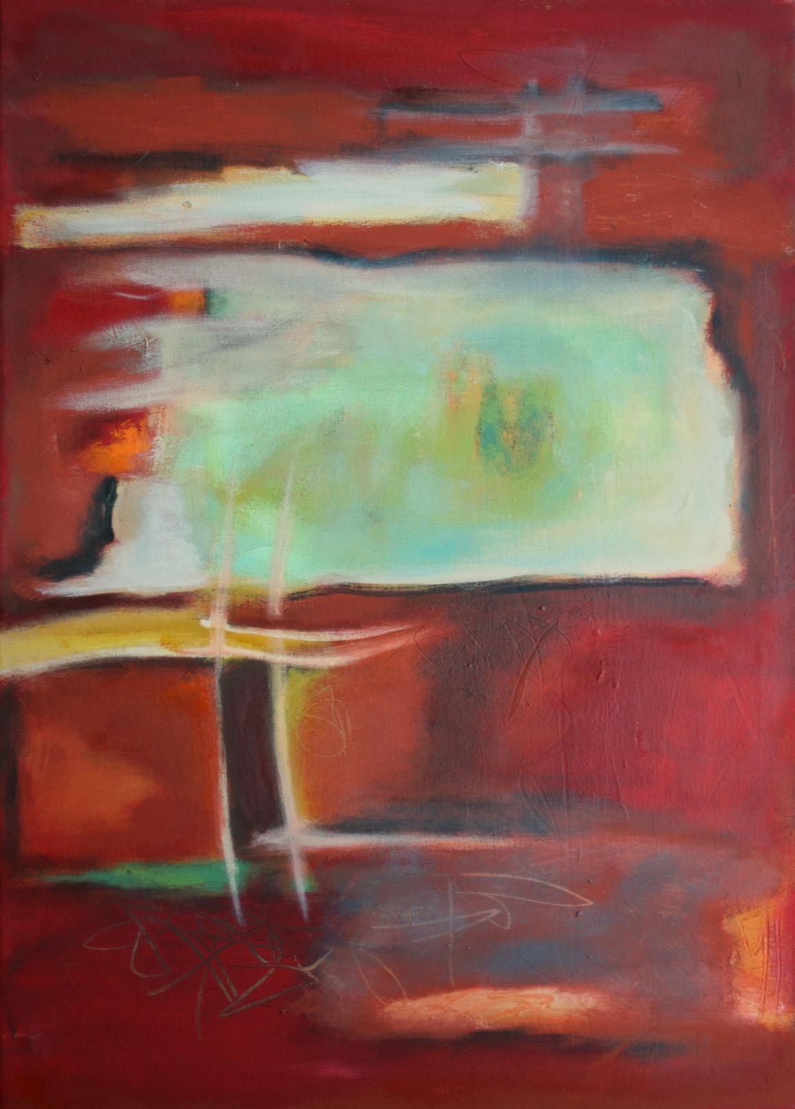 Tief im Rot I,  Öl und Acryl auf Leinwand, 70 x 50 cm