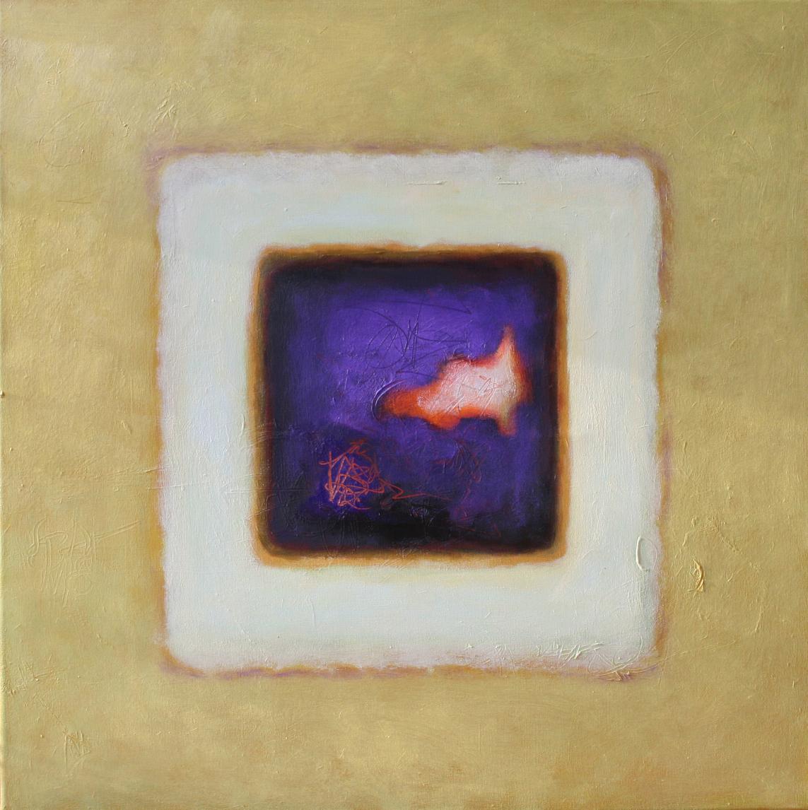 Karree mit Lila, Öl und Acryl auf Leinwand, 80 x 80 cm