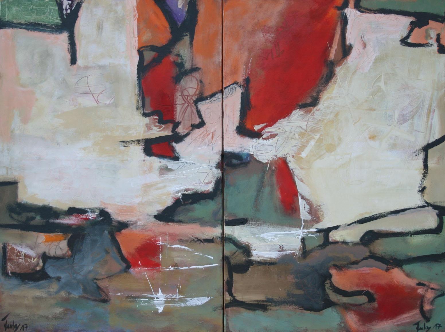 Ohne Titel 1706, Öl und Acryl auf Leinwand, 90 x 120 cm, zweiteilig