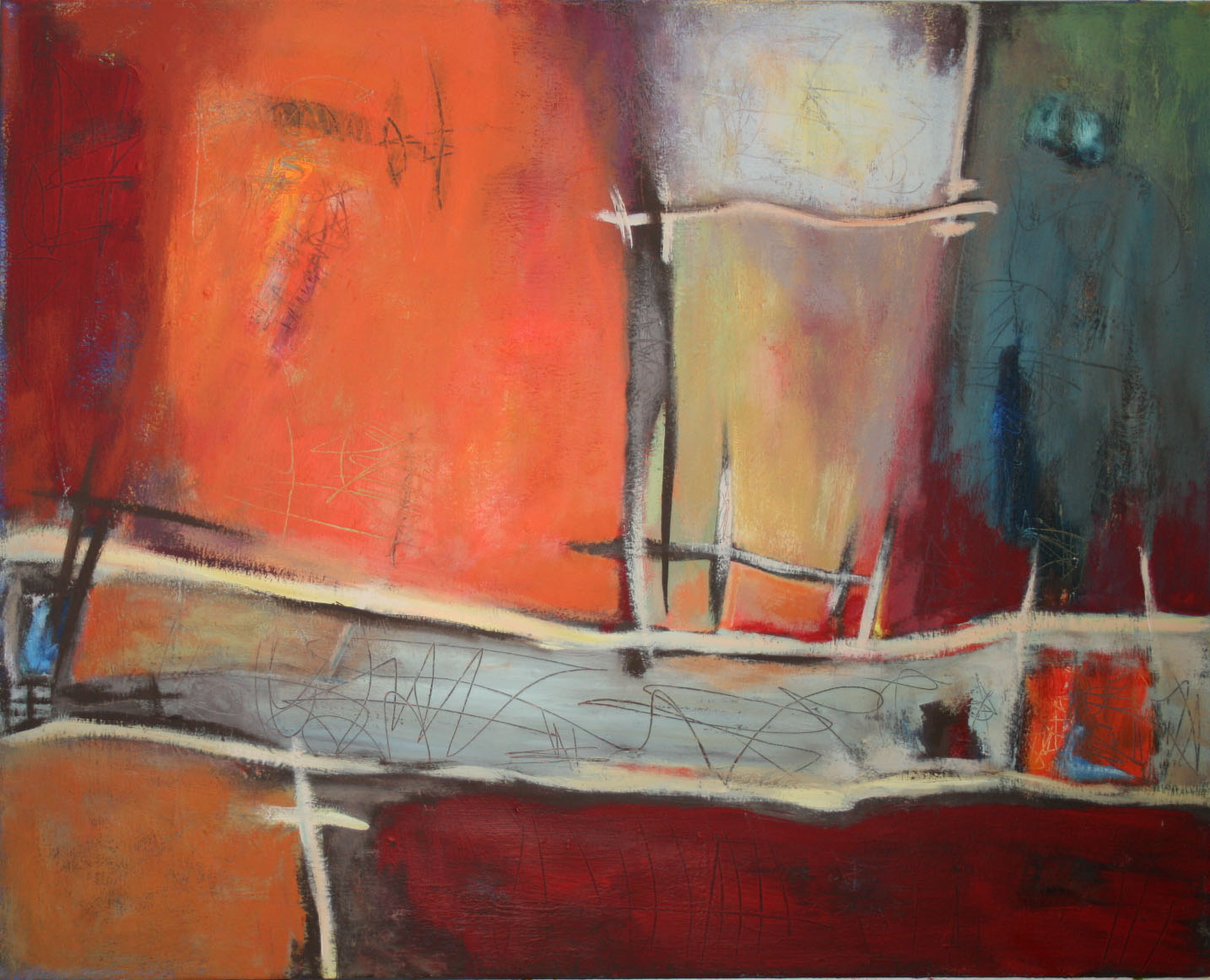 Neue Wege,  Öl und Acryl auf Leinwand, 80 x 100 cm
