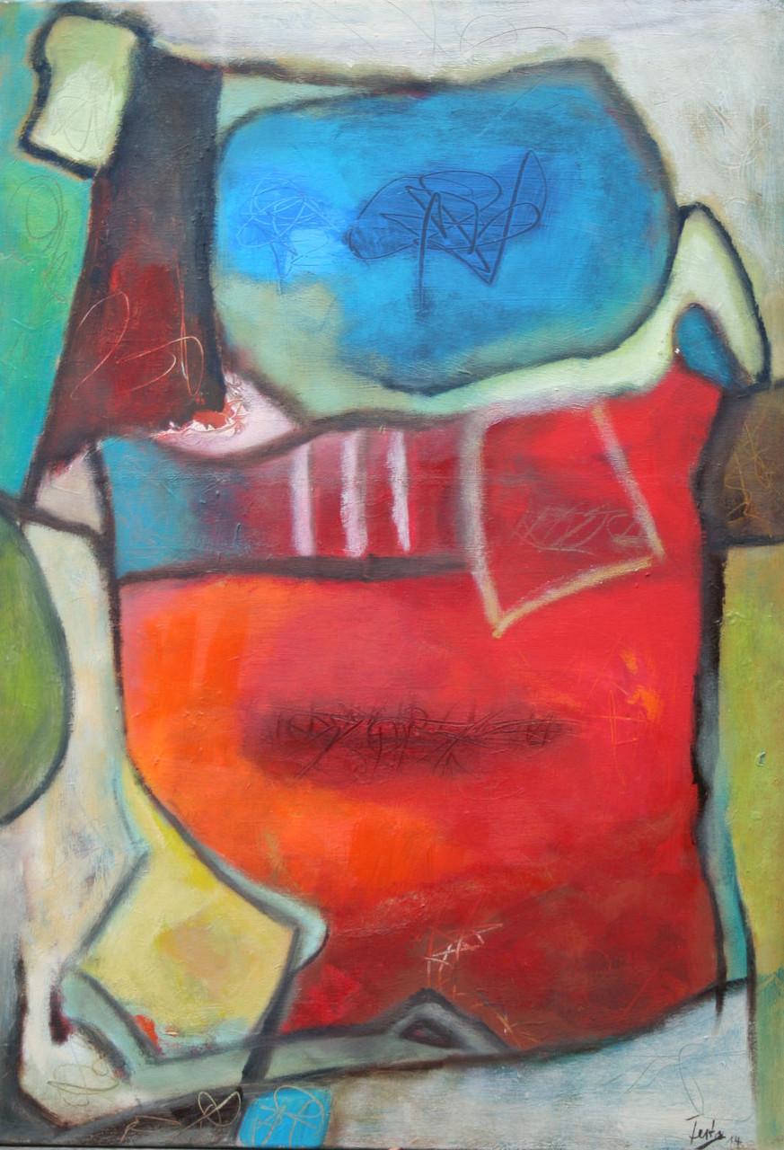 Farbenspiel I, 100 x 70 cm, Öl und Acryl auf Leinwand