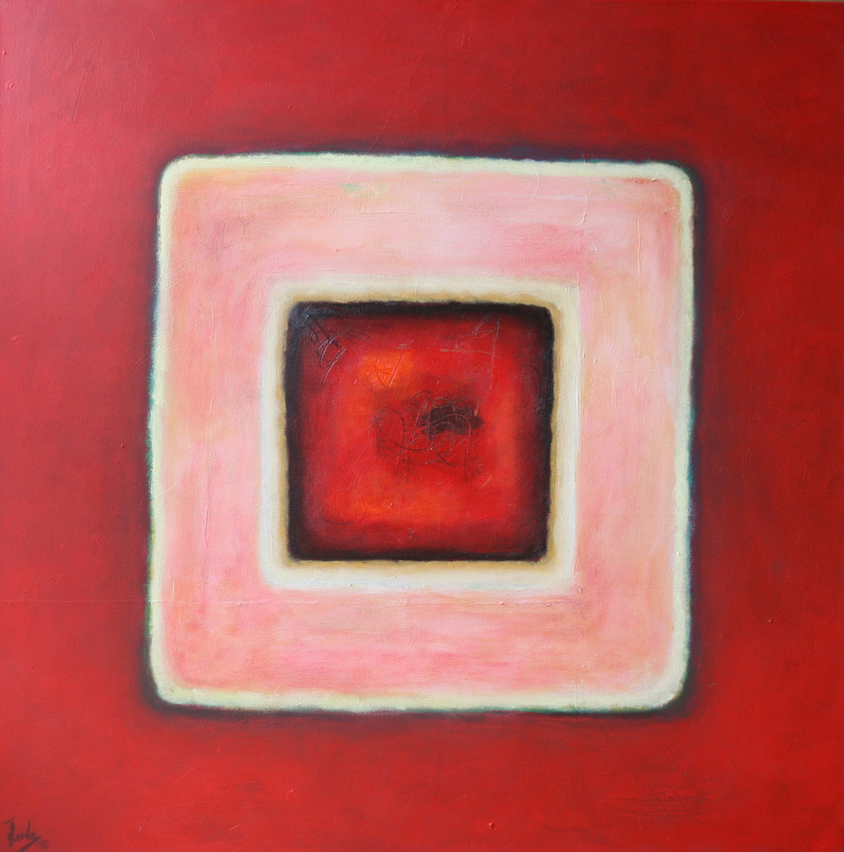 Karree in Rot, Öl und Acryl auf Leinwand, 100 x 100 cm