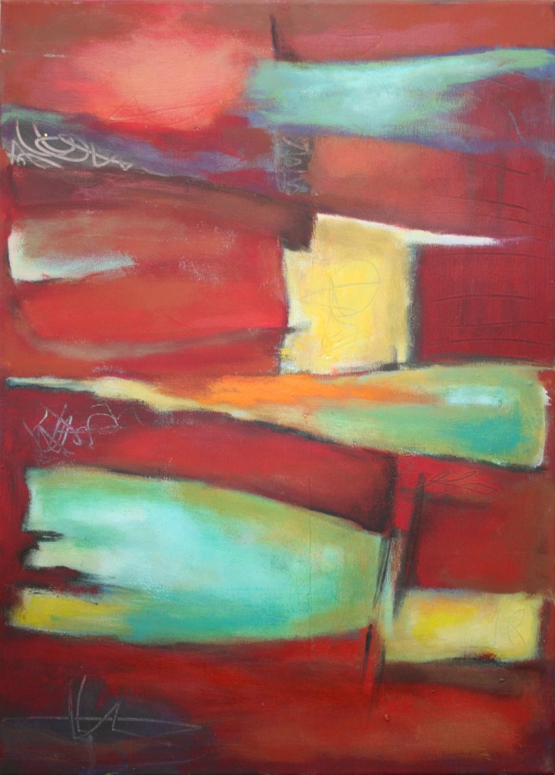 Tief im Rot III,  Öl und Acryl auf Leinwand, 70 x 50 cm