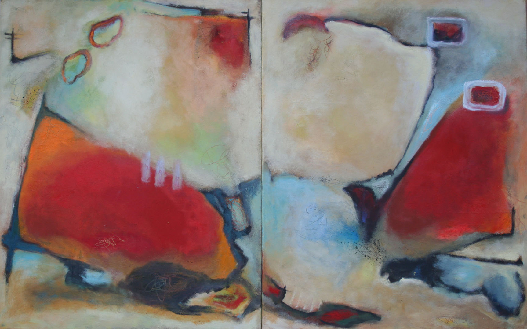 Dialog, Öl und Acryl auf Leinwand, 2-tlg,  je 100 x 80 cm