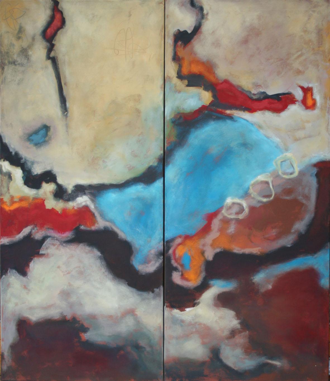 Bewegte Zeiten I+II, Öl und Acryl auf Leinwand,  2-tlg,  je 140 x 60 cm