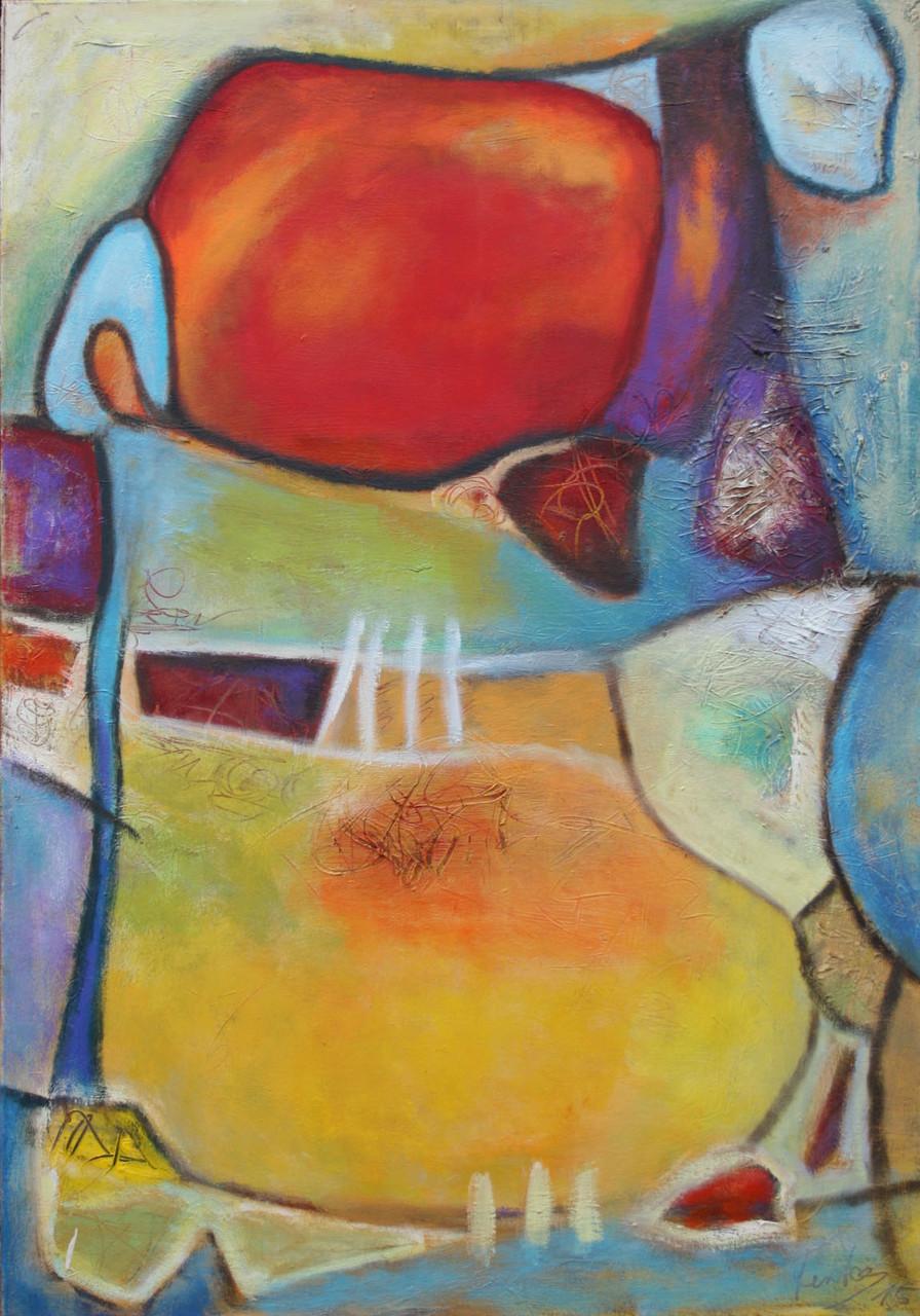 Farbenspiel II, 100 x 70 cm, Öl und Acryl auf Leinwand