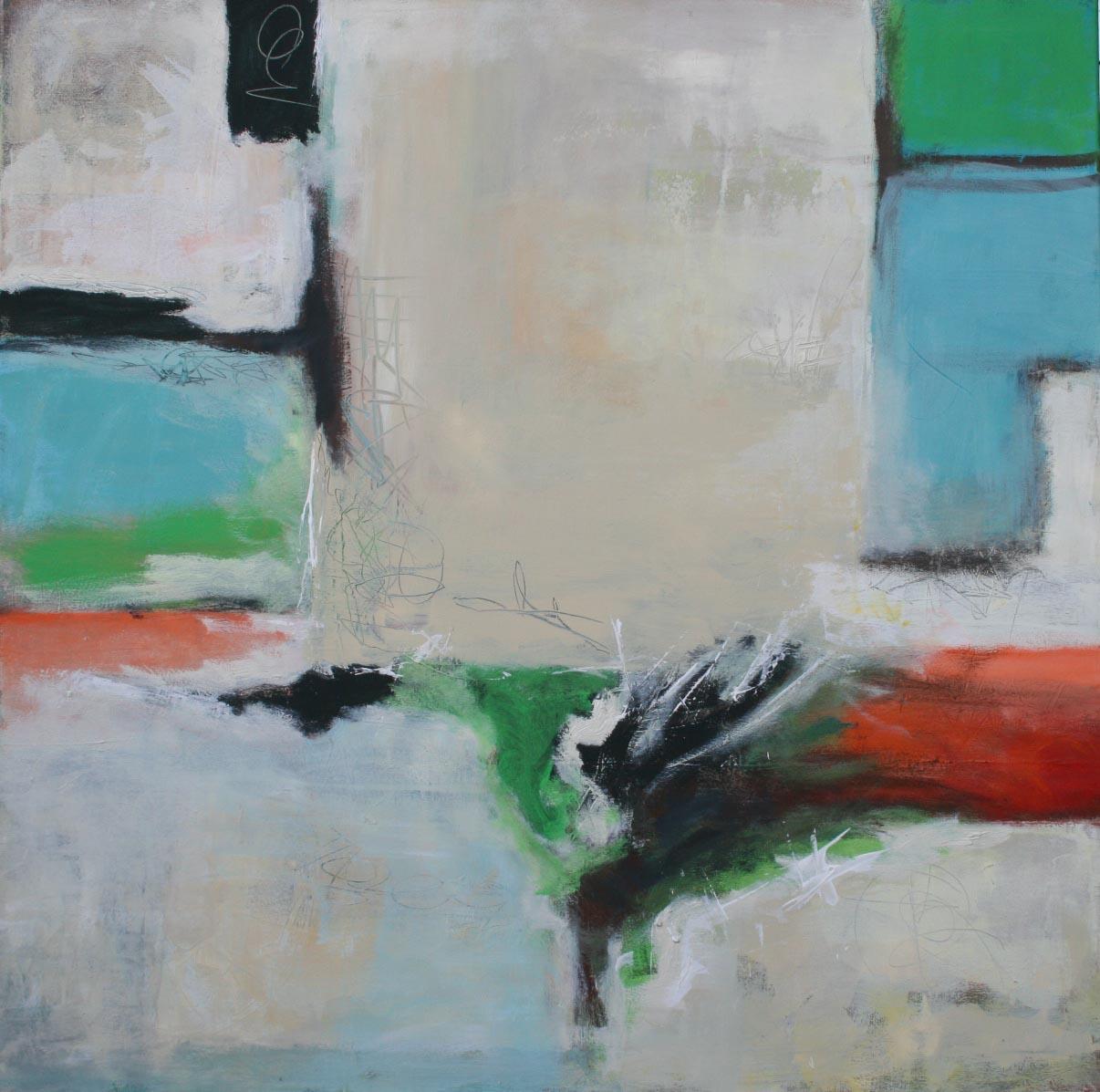 Ohne Titel 1702, Öl und Acryl auf Leinwand, 100 x 100 cm