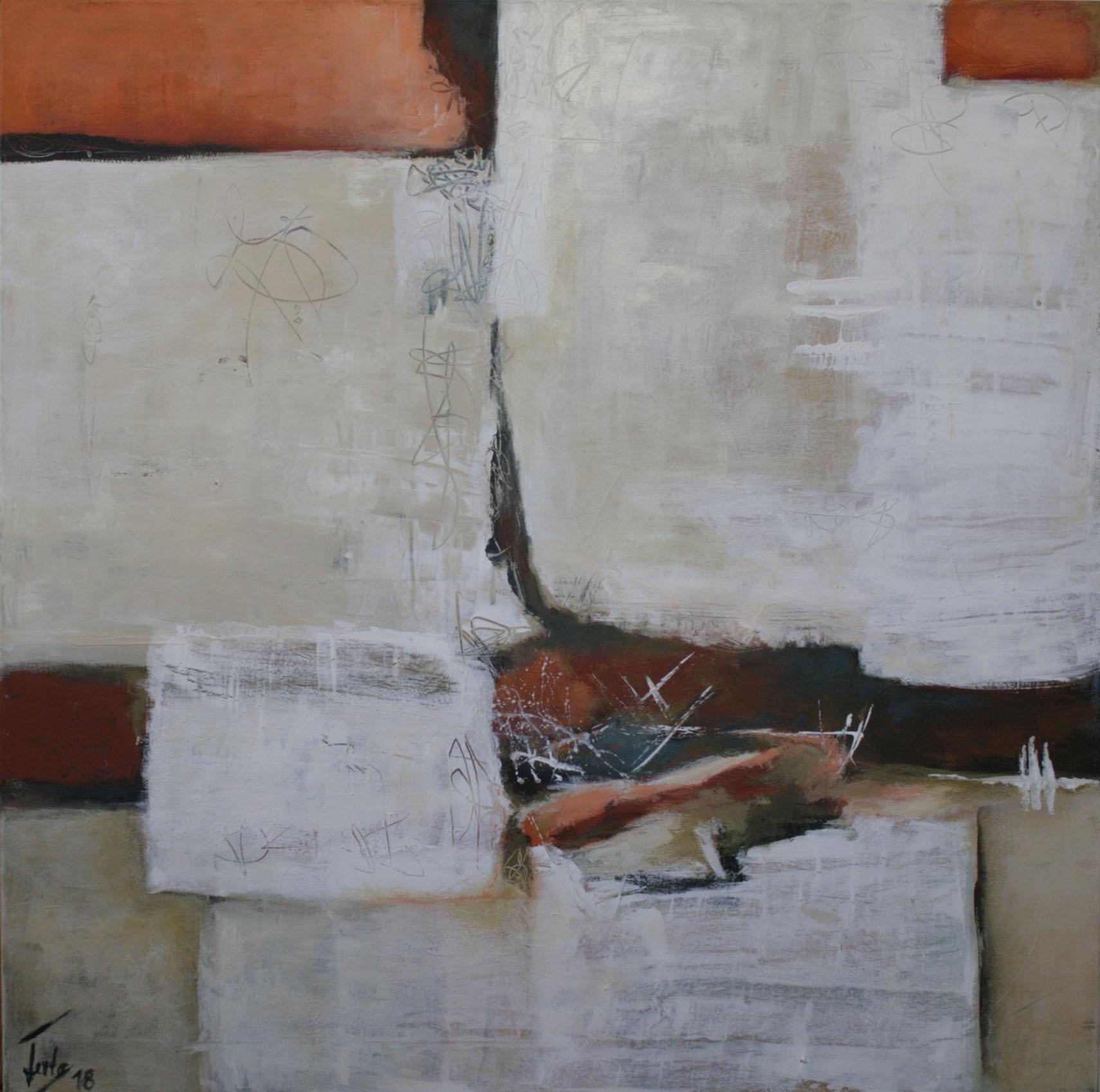 Ohne Titel 1809, Öl und Acryl auf Leinwand, 2018, 110 x 110 cm