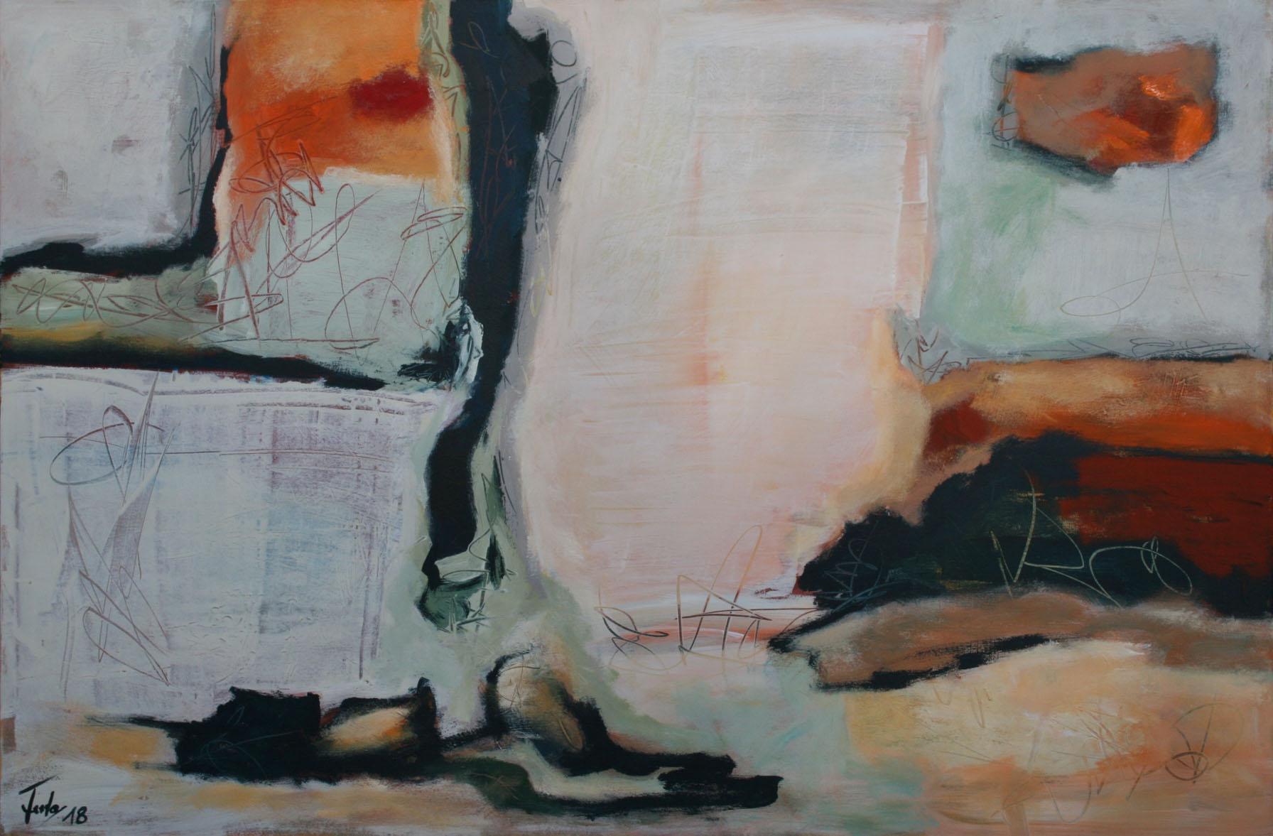 Ohne Titel 1801, Öl und Acryl auf Leinwand, 80 x 120 cm