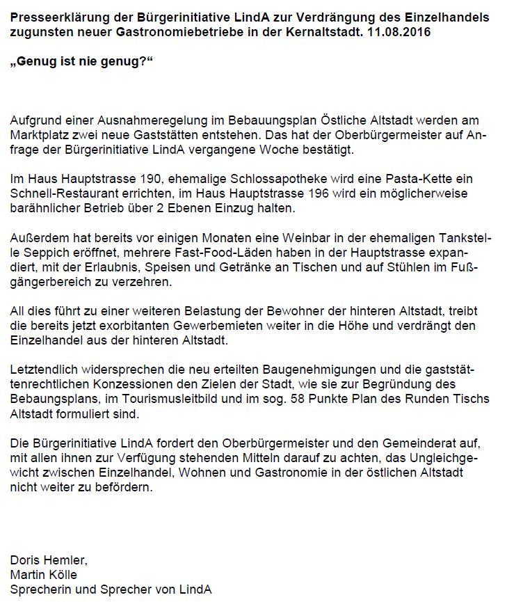Presseerklärung LindA zur Ausweitung der Gastronomie i.d. Altstadt 11.8.2016