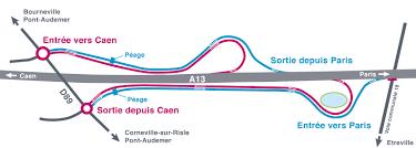 plan péage Bourneville par SANEF autoroute a13