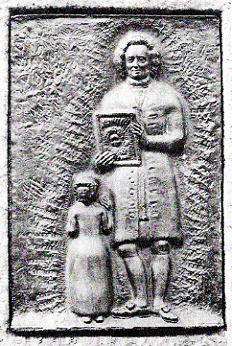 台座にはめこまれた青銅製記念銘板