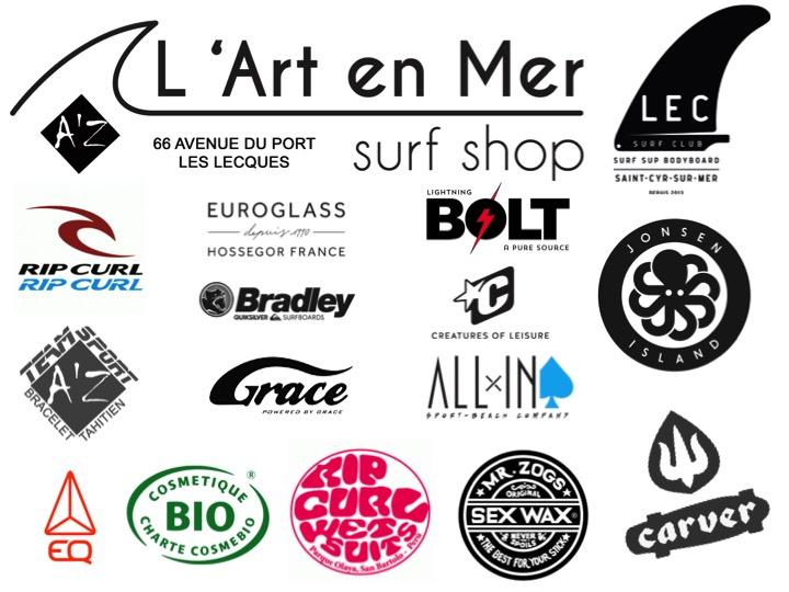 L'art en mer concept store Surf Shop Les Lecques Saint Cyr sur Mer Ripcurl Bolt Jonsen Island Sex Wax Mister Zog All In Euroglass Creatures Of Leisure Carver Skateboards