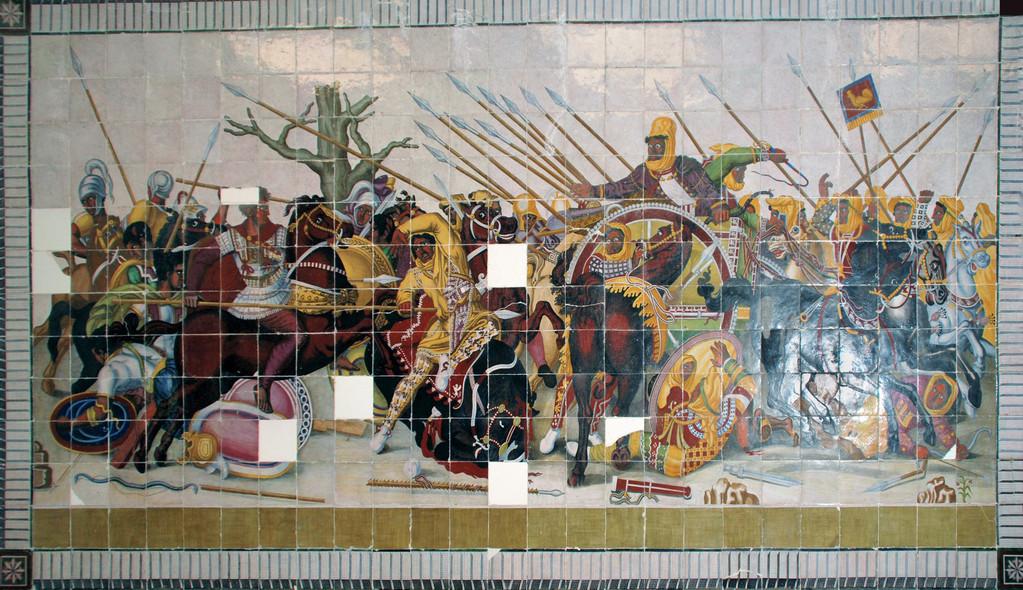 Зимний дворец. Мозаика Битва при Иссе Александра Македонского с Дарием.