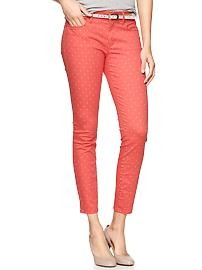 Polka dot coral ankle length jeans